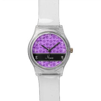 Corazones púrpuras y patas en colores pastel reloj de mano