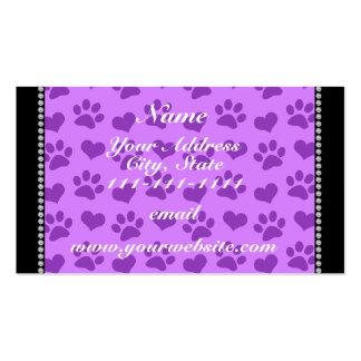 Corazones púrpuras y patas en colores pastel tarjetas de visita