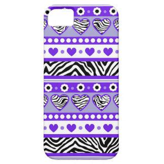 Corazones púrpuras y punto abstractos negros y funda para iPhone SE/5/5s