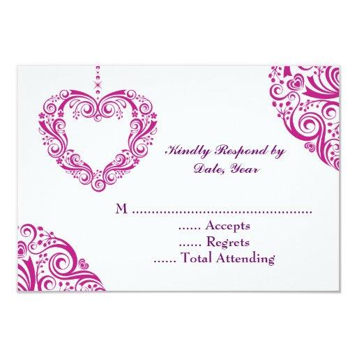 """Corazones que casan la tarjeta de RSVP Invitación 3.5"""" X 5"""""""
