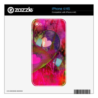 Corazones que chispean skins para eliPhone 4