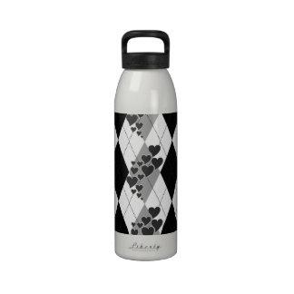 Corazones que remolinan Argyle del diamante (blanc Botella De Agua Reutilizable