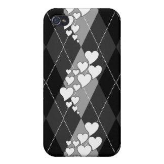 Corazones que remolinan Argyle del diamante (blanc iPhone 4 Carcasa