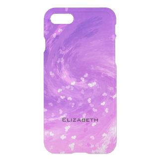 corazones que remolinan blancos púrpuras rosados funda para iPhone 7