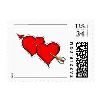 Corazones que se casan de la postal dos sello