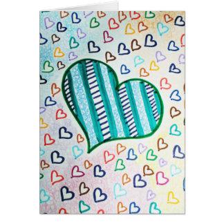 Corazones retros 80s tarjeta de felicitación