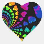 Corazones retros del arco iris en negro calcomanía corazón