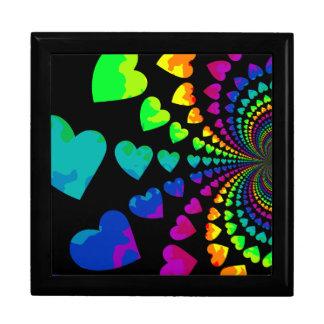 Corazones retros lindos del arco iris caja de regalo