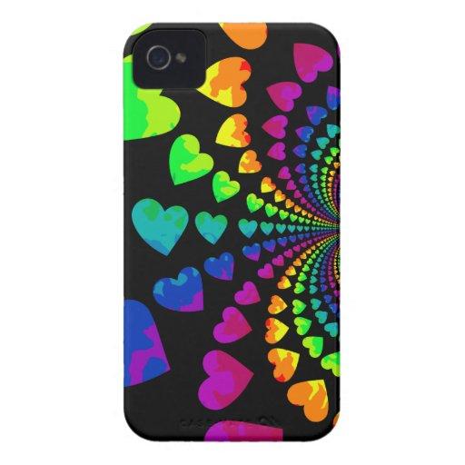 Corazones retros lindos del arco iris iPhone 4 cobertura