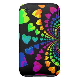 Corazones retros lindos del arco iris tough iPhone 3 coberturas