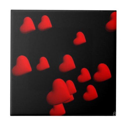 Corazones rojos azulejo cuadrado pequeño