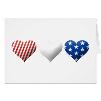 Corazones rojos blancos y azules felicitacion