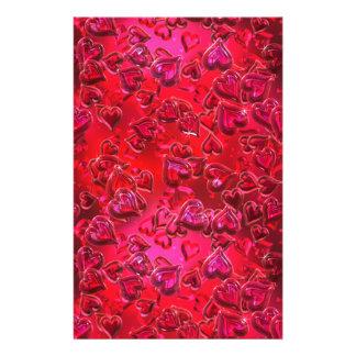 Corazones rojos brillantes papelería de diseño