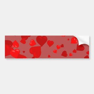 Corazones rojos pegatina de parachoque