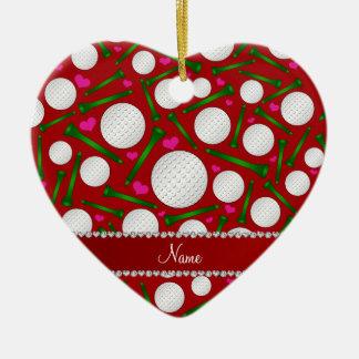 Corazones rojos conocidos personalizados de las adorno navideño de cerámica en forma de corazón
