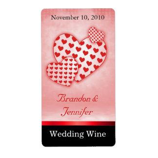 Corazones rojos de la diversión que casan mini eti etiquetas de envío