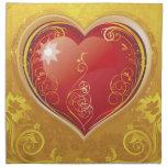 Corazones rojos de la tarjeta del día de San Valen Servilleta De Papel