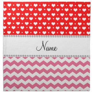 Corazones rojos de neón personalizados de los galo servilleta imprimida