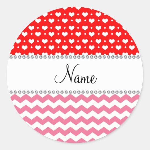 Corazones rojos de neón personalizados de los pegatina redonda