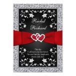 Corazones rojos de plata negros, invitación floral