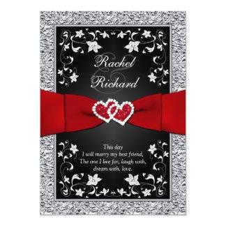 Corazones rojos de plata negros, invitación floral invitación 12,7 x 17,8 cm