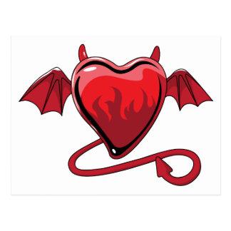 Corazones rojos del amor de los cuernos del diablo postal