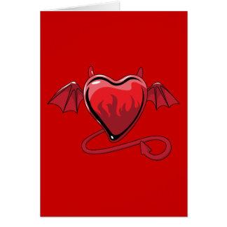 Corazones rojos del amor de los cuernos del diablo tarjeta pequeña