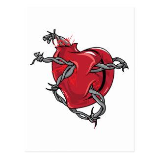 Corazones rojos del amor del alambre de púas del c tarjeta postal