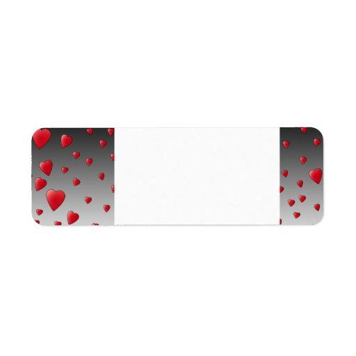 Corazones rojos del amor. Modelo Etiqueta De Remitente