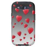 Corazones rojos del amor. Modelo Galaxy SIII Fundas