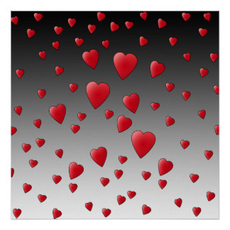 Corazones rojos del amor Modelo Impresiones