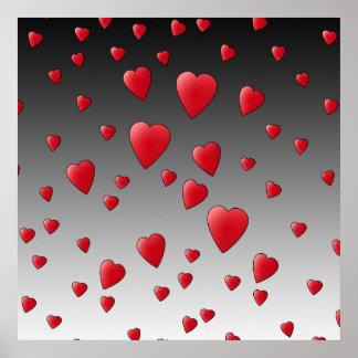 Corazones rojos del amor Modelo Posters