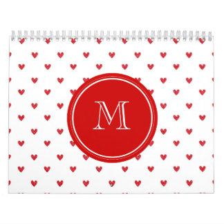 Corazones rojos del brillo con el monograma calendario