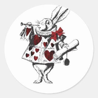 Corazones rojos del rojo del cuerno del conejo pegatina redonda