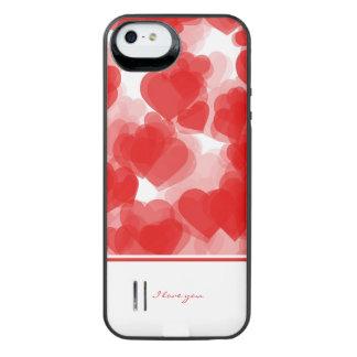 corazones rojos dulces con la declaración del amor funda con bateía para iPhone SE/5/5s