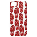 Corazones rojos en diseño del flip-flop iPhone 5 coberturas
