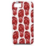 Corazones rojos en diseño del flip-flop iPhone 5 cobertura