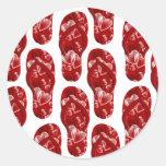 Corazones rojos en diseño del flip-flop etiqueta redonda