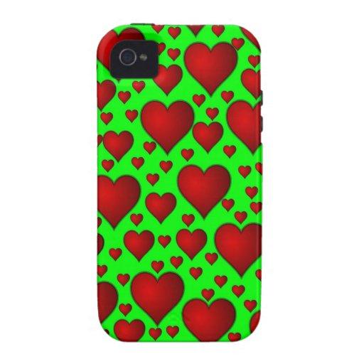 Corazones rojos en fondo verde Case-Mate iPhone 4 carcasas