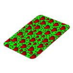 Corazones rojos en fondo verde imán flexible