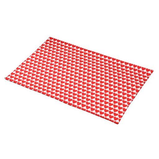 Corazones rojos en Placemat blanco Mantel Individual