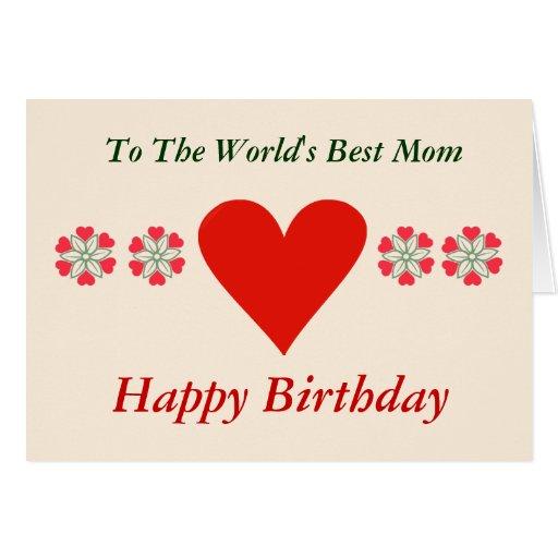 Corazones rojos flor y tarjeta de cumpleaños del c