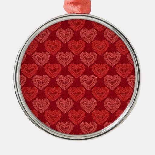Corazones rojos hermosos y encantadores adorno redondo plateado