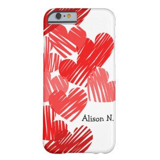 Corazones rojos incompletos con el caso conocido funda de iPhone 6 barely there