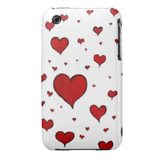 Corazones rojos iPhone 3 Case-Mate coberturas