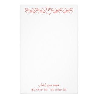 Corazones rojos para mi amor papelería personalizada