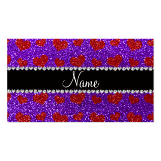 Corazones rojos púrpuras del brillo del añil conoc tarjetas de visita