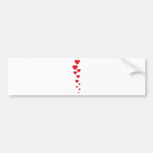 corazones rojos que vuelan al icono del cielo pegatina de parachoque