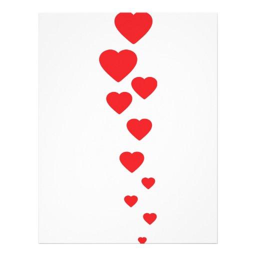 corazones rojos que vuelan al icono del cielo plantilla de membrete
