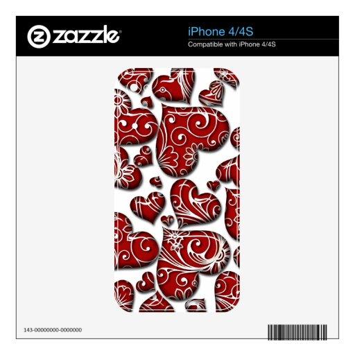 Corazones rojos retros calcomanías para iPhone 4S